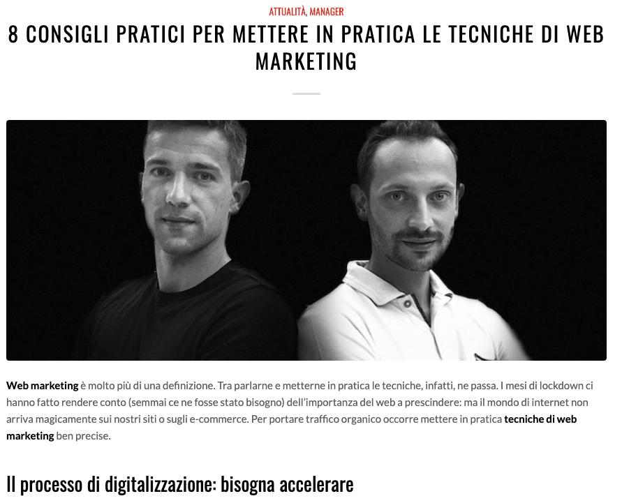 articolo giornale PerformancePPC su Uomo&Manager